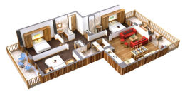 Apartment 4PC - 4 rooms + cabin 8 people - 85 m2